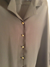 Black Long Sleeve Button Up Blouse Gold Toned Buttons Size 15 Worthington image 2