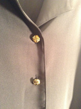 Black Long Sleeve Button Up Blouse Gold Toned Buttons Size 15 Worthington image 3
