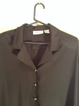 Black Long Sleeve Button Up Blouse Gold Toned Buttons Size 15 Worthington image 4