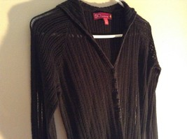 Black Long Sleeve Sweater with Hoodie by SO See Through Buttons on Top Size XL image 4