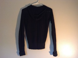 Black Long Sleeve Sweater with Hoodie by SO See Through Buttons on Top Size XL image 5