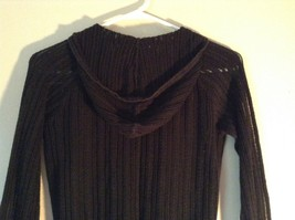 Black Long Sleeve Sweater with Hoodie by SO See Through Buttons on Top Size XL image 6