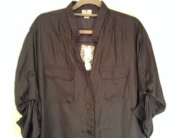 Worthington Long Sleeve Black Button Up Blouse Size M New with Tag Front Pockets image 2
