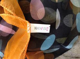 Black Orange Polka Dot Sheer Orange Border Square Scarf by Hanfei Light Weight image 5