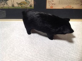Black Pig Figurine Made with Recycled Rabbit Fur image 3