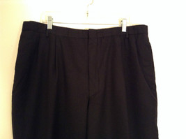 Black Pleated Front Structure 100 Percent Wool Dress Pants Size 40 by 30 image 3