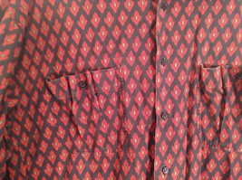 Black Red Pattern Souleiado Button Up Shirt Size 5 European Made in France image 3