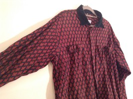 Black Red Pattern Souleiado Button Up Shirt Size 5 European Made in France image 2
