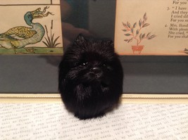 Black Pomeranian Dog Head Magnet Recycled Rabbit Hair Conversation Concepts image 4