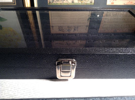 Black Ring Display Case with Foam Padding and Silver Latch for Closing image 7