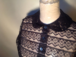 Black See Through Belly Shirt Button Up Front Three Quarter Length Sleeves image 5