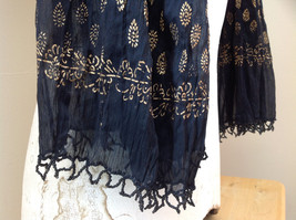 Black Scrunched Indian Style Real Gold Stamped Embossed Scarf Hand Printed image 6