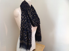 Black Scrunched Indian Style Real Gold Stamped Embossed Scarf Hand Printed image 2