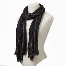 Black Soft Viscose scarf with sparkly silver lurex thread image 2