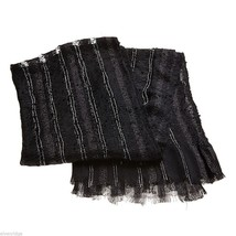 Black Soft Viscose scarf with sparkly silver lurex thread image 3