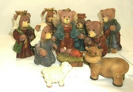 Christmas Nativity Scene Teddy Bear Figurines Holy Family Baby Jesus 9-P... - $25.83
