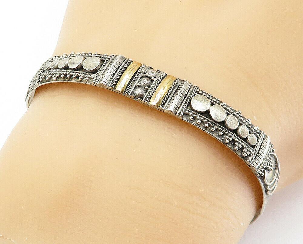 925 Sterling Silver - Vintage Two Tone Ornate Detail Cuff Bracelet - B6030