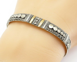 925 Sterling Silver - Vintage Two Tone Ornate Detail Cuff Bracelet - B6030 - $60.83