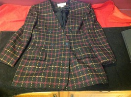 jones new york size 12 color blue with yellow and maroon lines coat blazer woman image 2