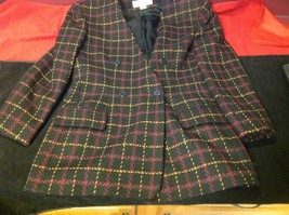 jones new york size 12 color blue with yellow and maroon lines coat blazer woman image 3