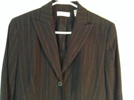 Black Striped Amanda Smith Blazer Shoulder Pads Buttons on Sleeves Size 8 image 2