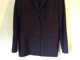 Black Striped Amanda Smith Blazer Shoulder Pads Buttons on Sleeves Size 8 image 3