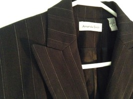 Black Striped Amanda Smith Blazer Shoulder Pads Buttons on Sleeves Size 8 image 6