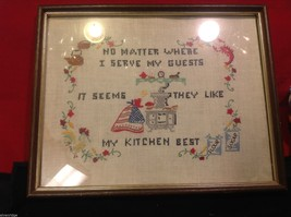 stitchery framed vintage hand made My Guests Like my kitchen best image 2
