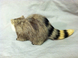 Black White Faced Raccoon Animal Figurine - recycled rabbit fur image 5