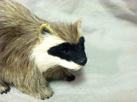 Black White Faced Raccoon Animal Figurine - recycled rabbit fur image 2