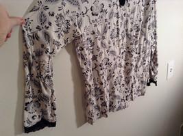 Black White Floral Print Long Sleeve Shirt Lace Trim Size 20 to 22/2X Adonna image 2
