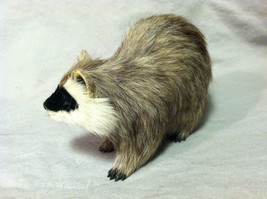 Black White Faced Raccoon Animal Figurine - recycled rabbit fur image 7