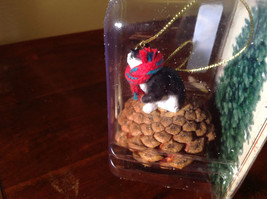 Black White Cat with Scarf Real Pine Cone Pet Pine Cone Christmas Ornament image 3