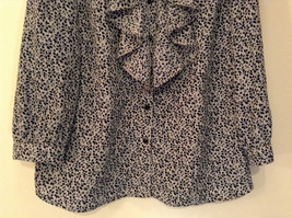 Black White Leaves Pattern Ruffled Front Button Up Blouse Size M 8 to 10 George image 4