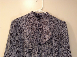 Black White Leaves Pattern Ruffled Front Button Up Blouse Size M 8 to 10 George image 3