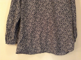 Black White Leaves Pattern Ruffled Front Button Up Blouse Size M 8 to 10 George image 6