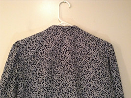 Black White Leaves Pattern Ruffled Front Button Up Blouse Size M 8 to 10 George image 5