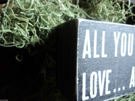 """Black Wooden Box Sign """"All you need is love...and a cat"""" image 2"""