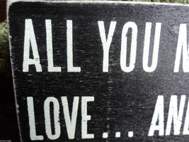 """Black Wooden Box Sign """"All you need is love...and a cat"""" image 4"""