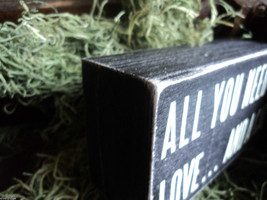 """Black Wooden Box Sign """"All you need is love...and a cat"""" image 3"""
