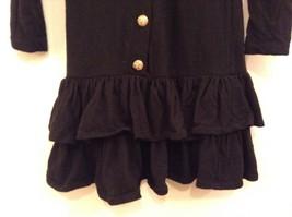 Black  Winter Dress Long Sleeves Sketches Christine Jaguin Ruffled Bottom Size 6 image 4
