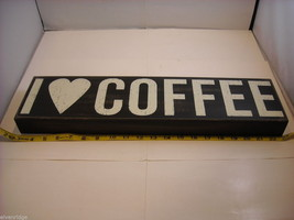 """Black Wooden Box Sign """"I [Heart] Love Coffee"""" Saying image 7"""