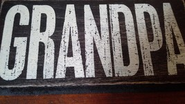 Black Wooden Magnet Tile Sign with the Word GRANDPA in White Letters image 3