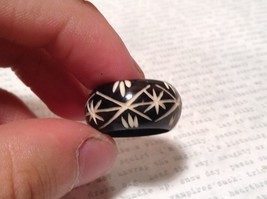 Black Wooden Hand Carved Ring with Cross Pattern Sizes 5, 6.5 OR 10 image 4