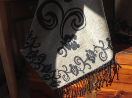Black and Tan Floral Design Tasseled Shawl Warm Ruana image 2