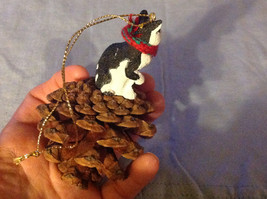 Black and White Cat Ornament Real Red Pine Cone Real Fabric for Scarf image 4