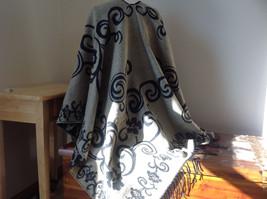 Black and Tan Floral Design Tasseled Shawl Warm Ruana image 3