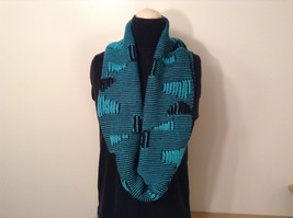 Black and Turquoise Infinity scarf warm fashion accent image 2
