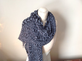 Black and Gray Boho Style Scarf with Dots image 4