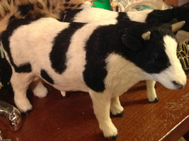 Black and White Holstein Bull Animal Figurine - recycled rabbit fur image 2